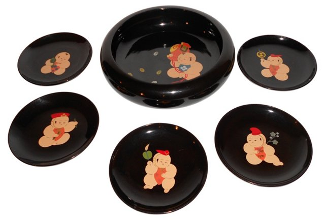 Japanese Lacquer Serving Set, Svc. for 5