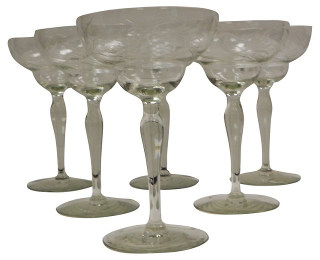 Hand-Cut Crystal Wine Goblets, S/6