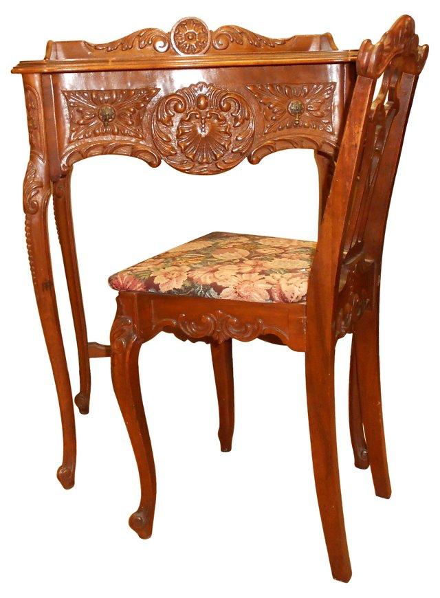 19th-C. Lady's Desk & Chair