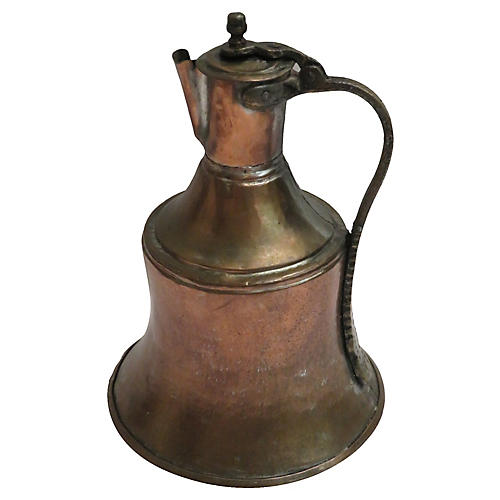 Farmhouse Primitive Copper Pitcher