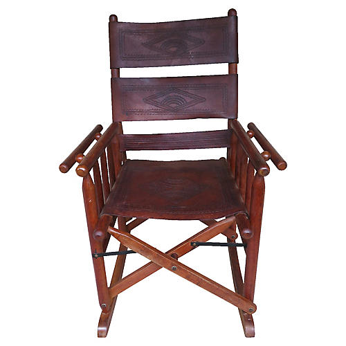 Rustic Leather Rocker