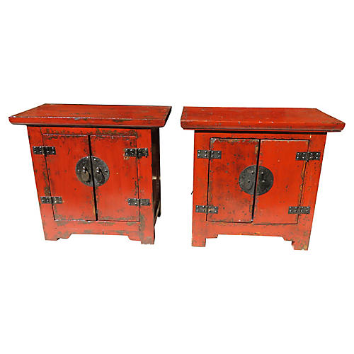 Chinese Shanxi Side Cabinets, S/2