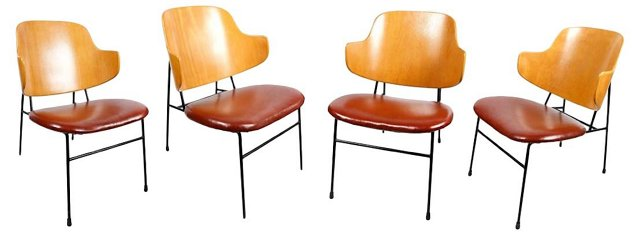 Midcentury Kofod-Larsen Chairs, S/4