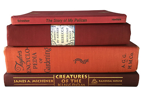 Berry Toned Book Stack, S/4