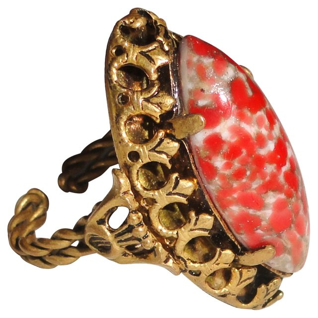 Brass Filigree Speckled Ring