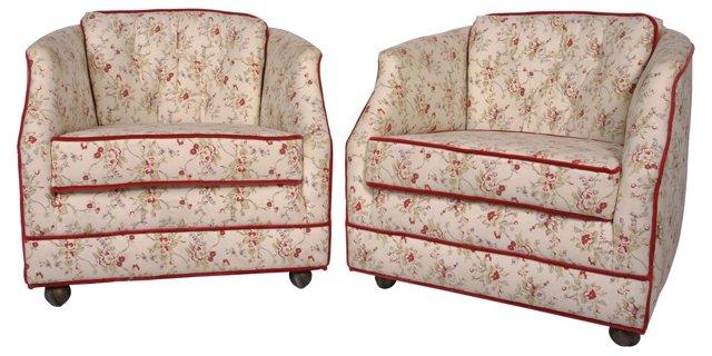 Floral Club Chairs, Pair