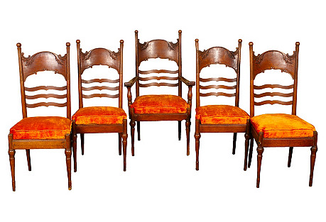 Art Nouveau Press-Back Chairs, S/5
