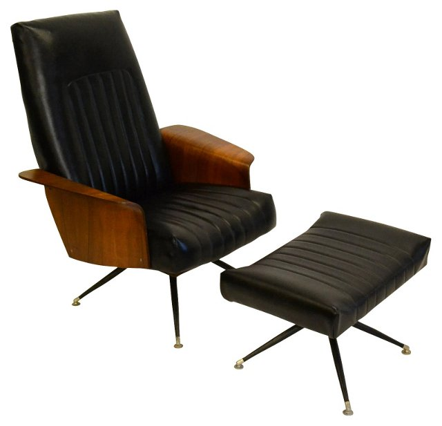 Plycraft-Style Lounge Chair & Ottoman