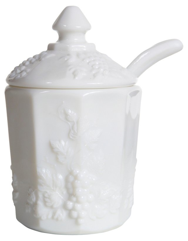 Milk Glass Grape Jam Jar & Spoon