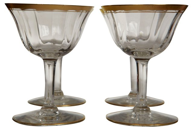 Gold-Rimmed Small Wines, S/4