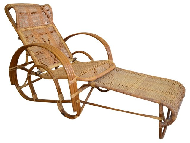 1950s Rattan Chaise Lounge