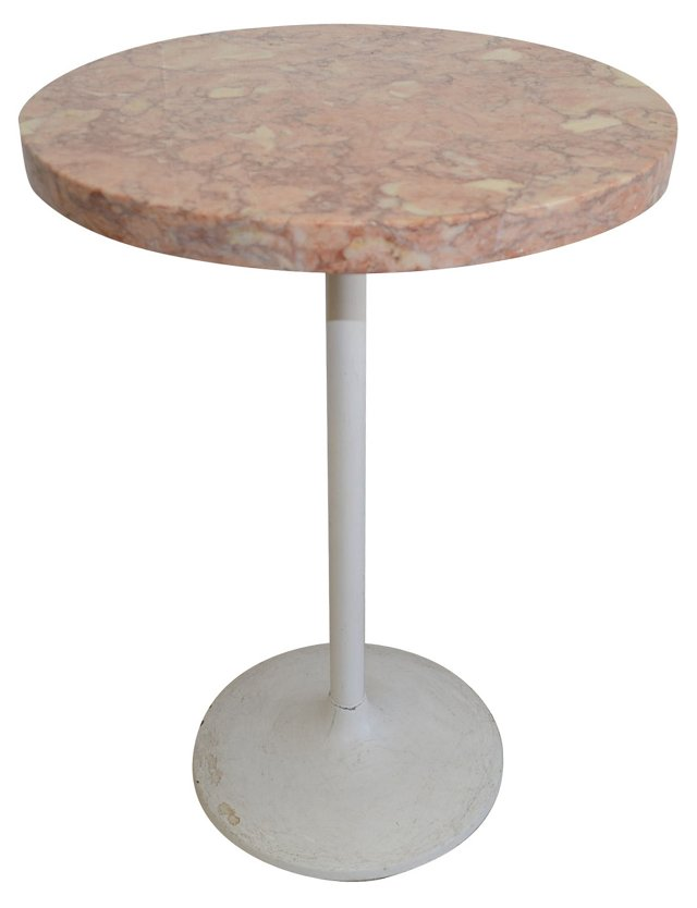 Midcentury Marble Top Side Table