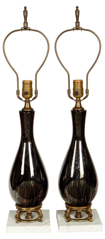 Murano & Marble Lamps, Pair