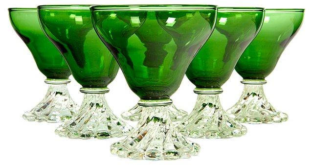 Midcentury Green & Crystal Stems, S/6