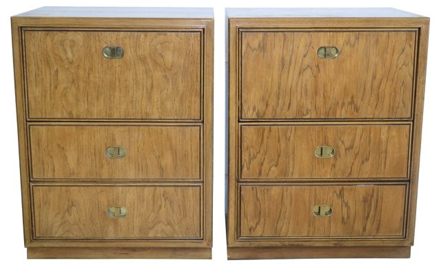 Campaign-Style Drexel Night Stands, Pair