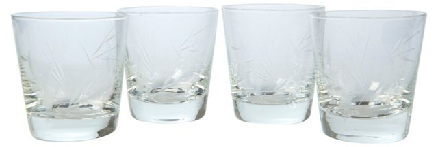 Palm Tree Etched Bar Glasses, S/4