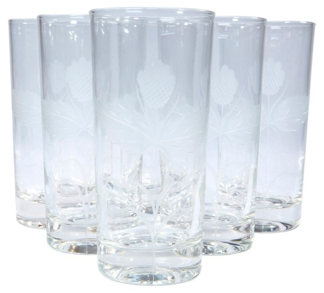 1950s Thistle Etched Tall Tumblers, S/6