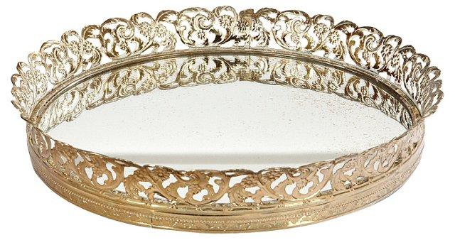 Round Gilt Filigree Mirrored Tray