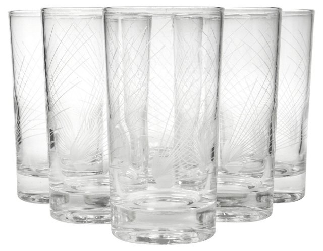 1950s Tumblers w/ Mitred Lines, S/6