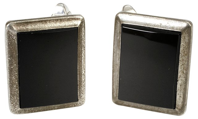 Square Faux-Onyx Cuff Links