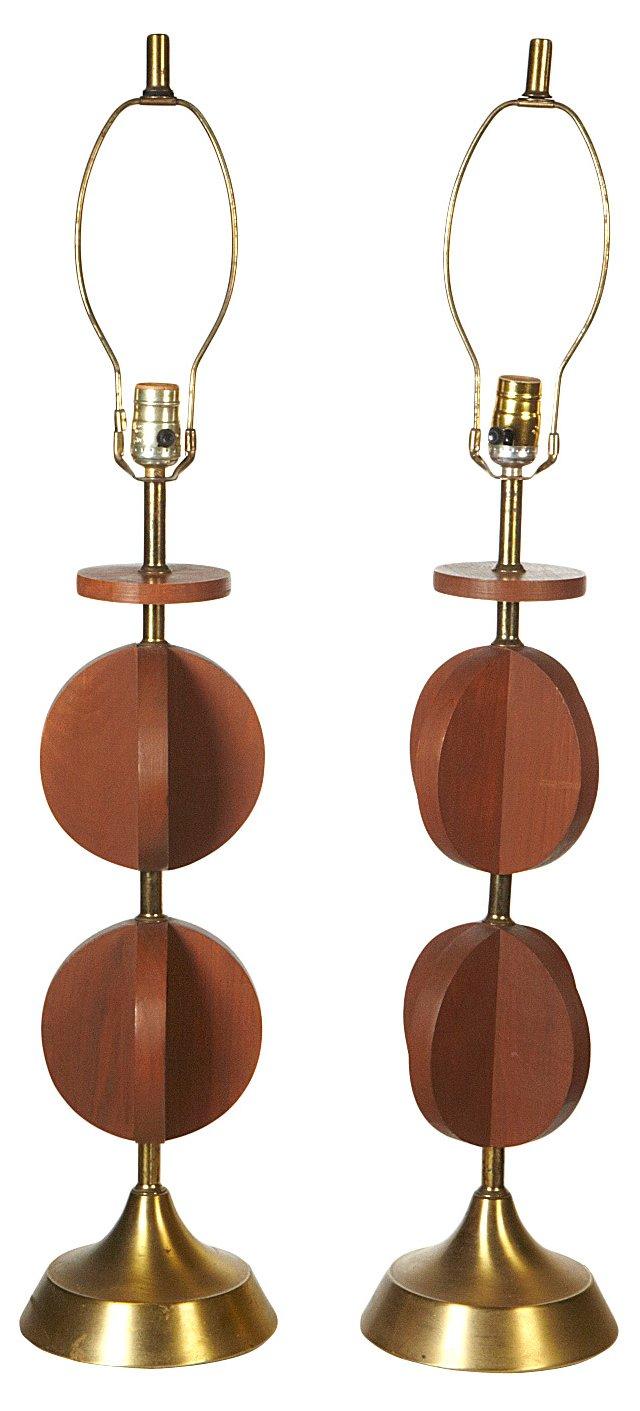 1960s Walnut Wood Lamps, Pair