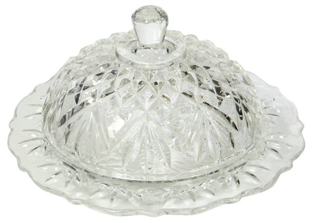 Round Glass Butter Dish