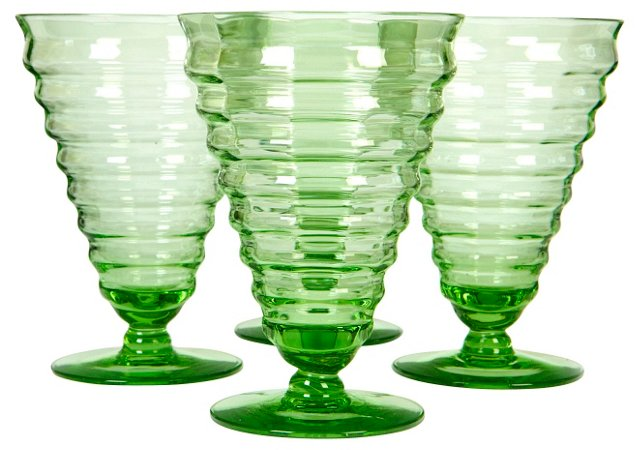 Ribbed Green Glass Stems, S/4