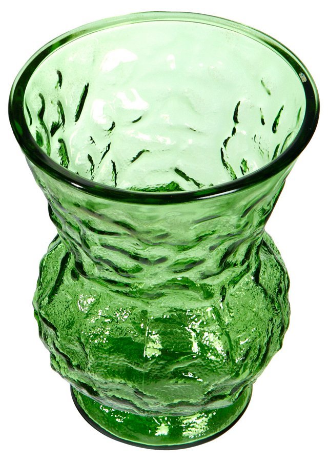 1960s Green Textured Glass Vase