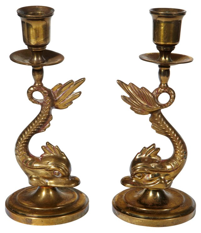 Art Deco Gilt Fish Candleholders, Pair