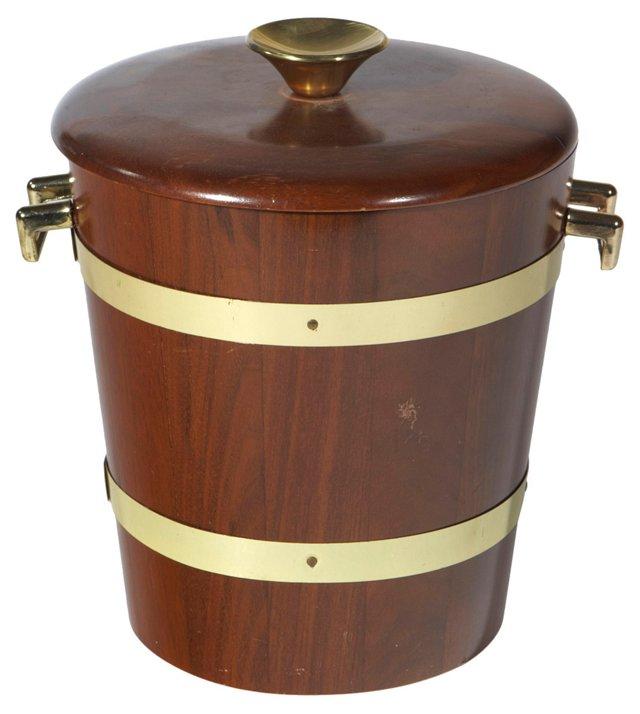 Wood & Gold Banded Ice Bucket