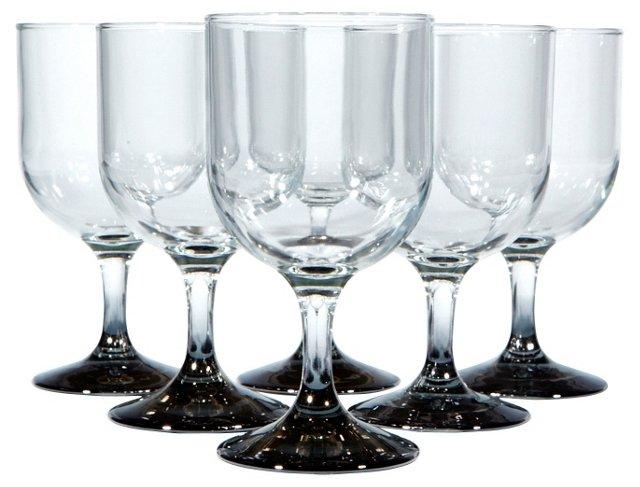 Silver-Fade Stem Wine Glasses, S/6