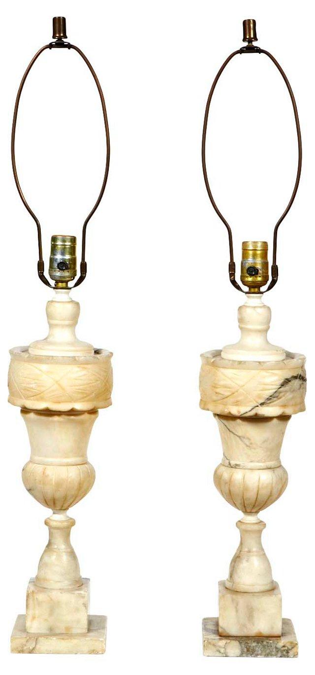 Italian Alabaster Lamps, Pair