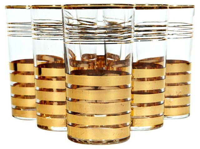 Multi-Banded Gilt Tumblers, S/6