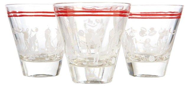 1960s Sport Shot Glasses, S/4