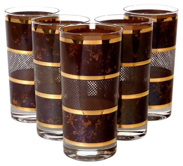 1970s Brown & Gilt Striped Tumblers, S/5