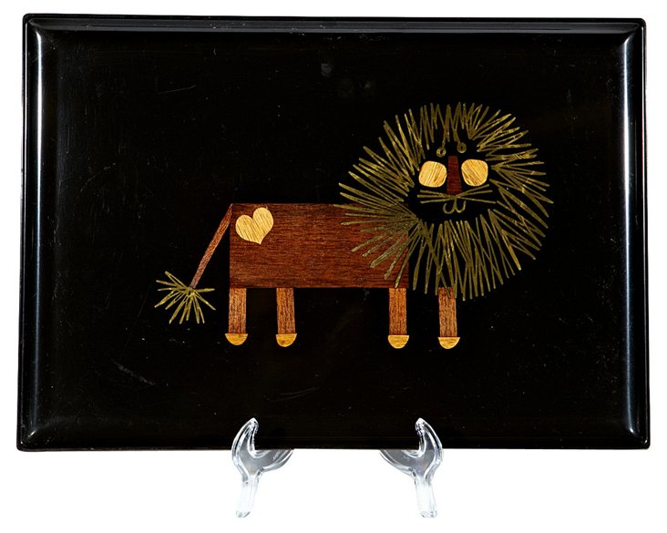 Couroc Tray w/ Inlaid Lion