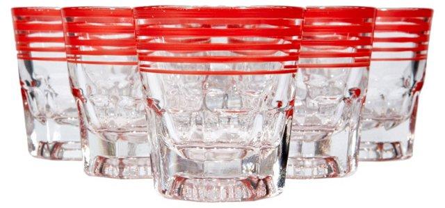 Red-Banded Shot Glasses, S/6
