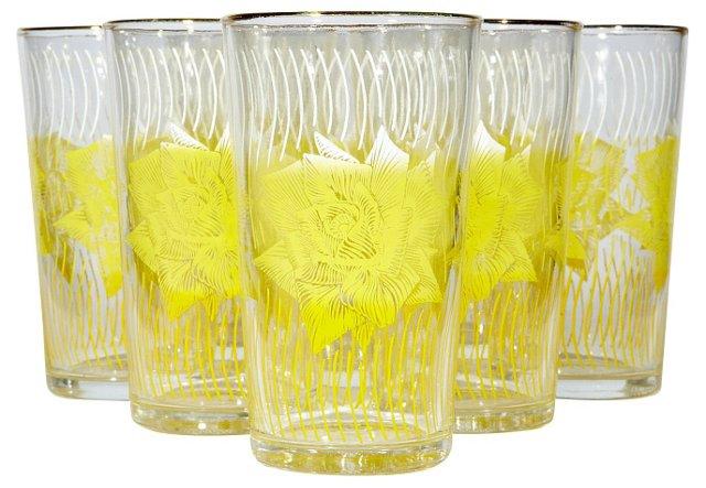 1960s Yellow Rose Tumblers, S/8
