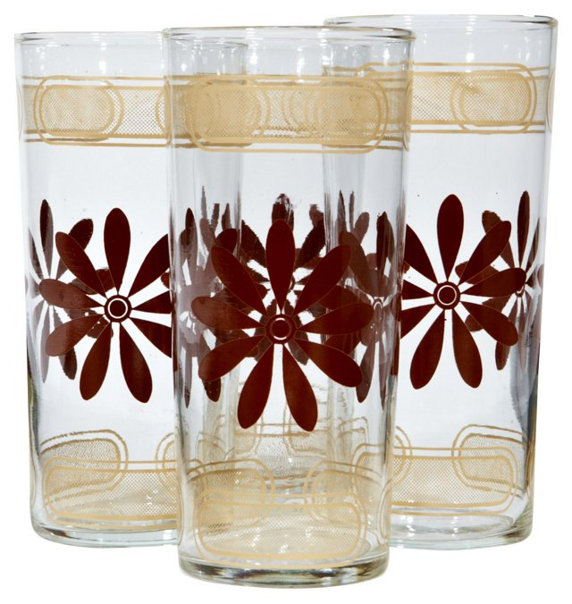 1970s Brown Floral Tumblers, S/4