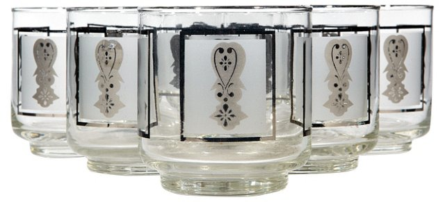1960s Frosted & Silver Tumblers, S/7
