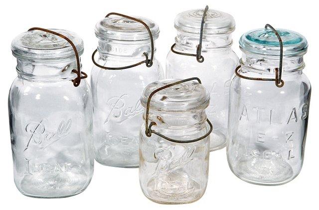 Glass Kitchen Jars, S/5