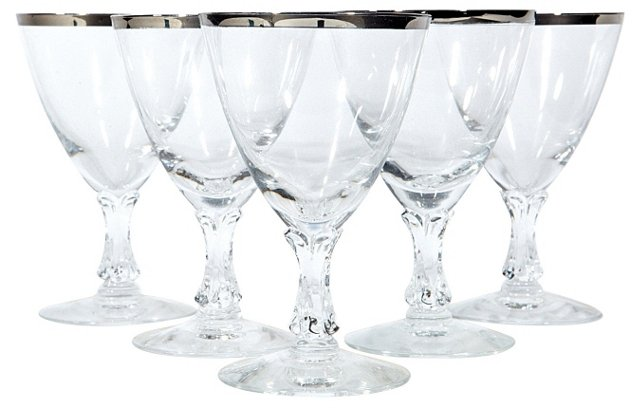 1950s Silver-Rimmed Wine Stems, S/5