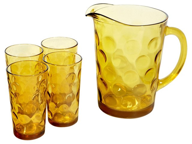 1970s Glass Beverage Set, S/5