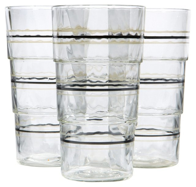 Striped Glass Tumblers, S/4