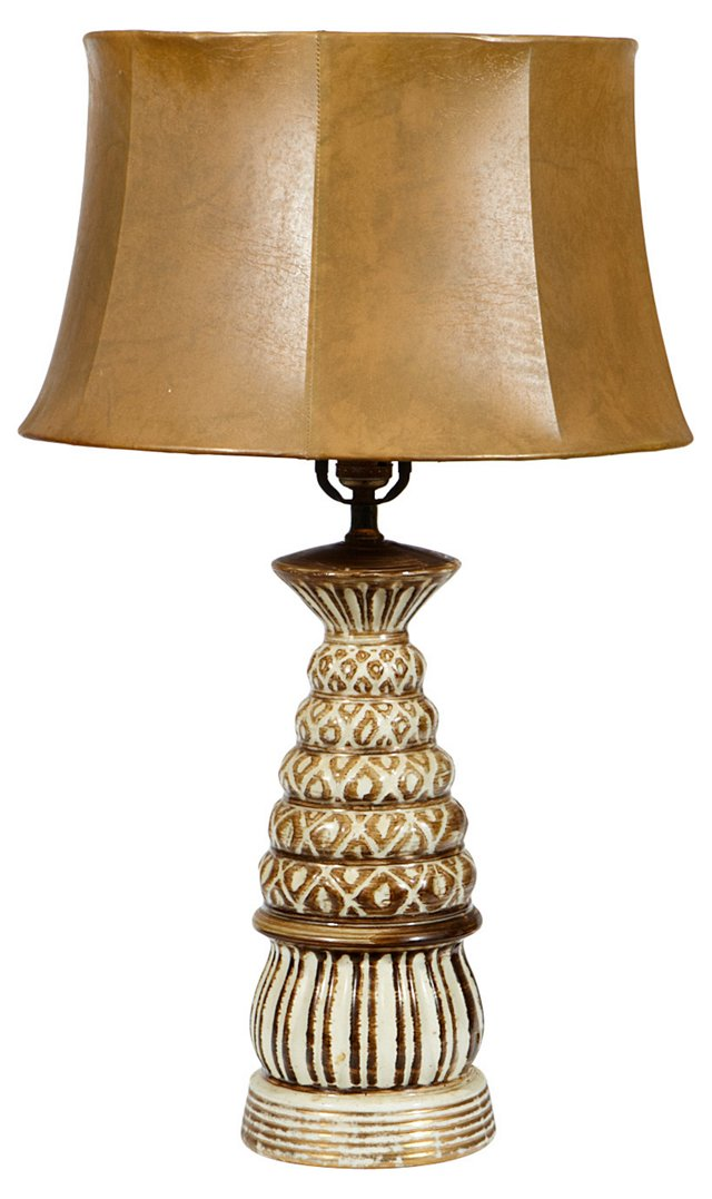 1960s Lamp & Leather Shade