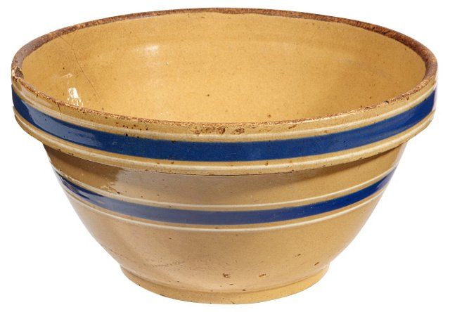 Striped Yellow-Ware Mixing Bowl