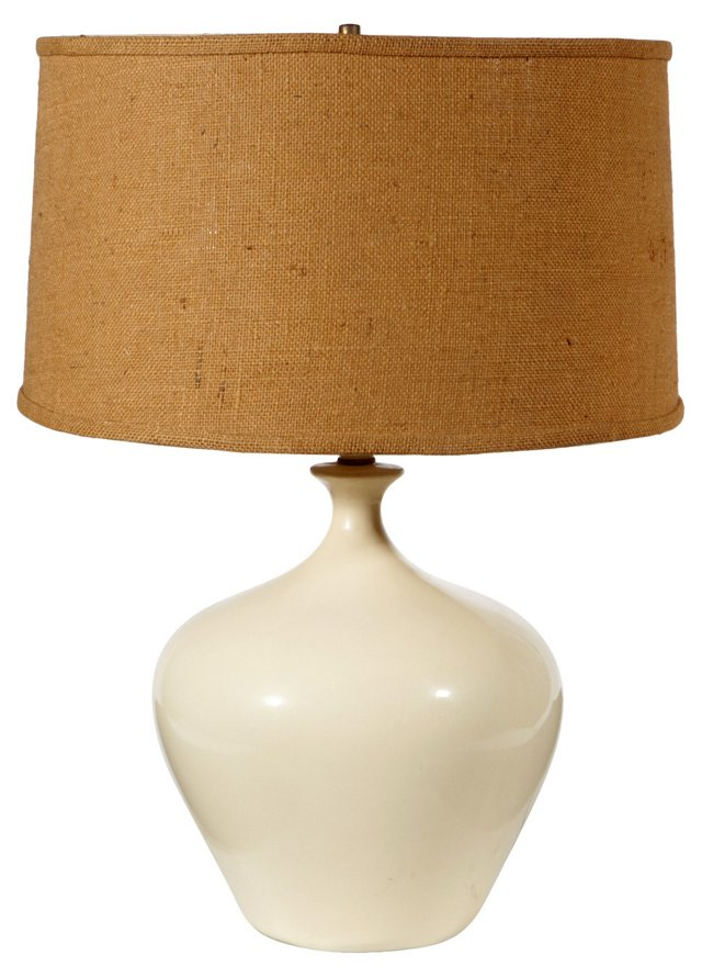 1960s White Ceramic Lamp