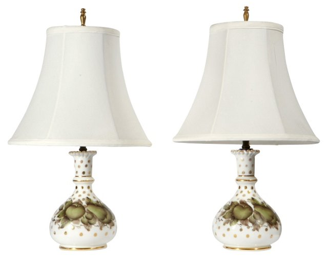 Hand-Painted Lamps, Pair