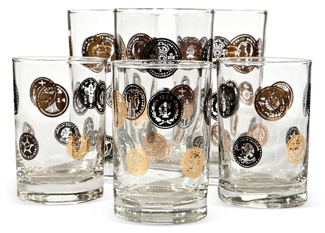 1960s Coin Glasses, Set of 6