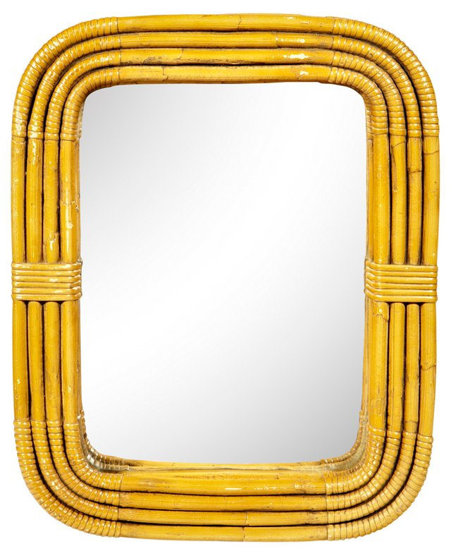 1970s Banded Rattan Mirror